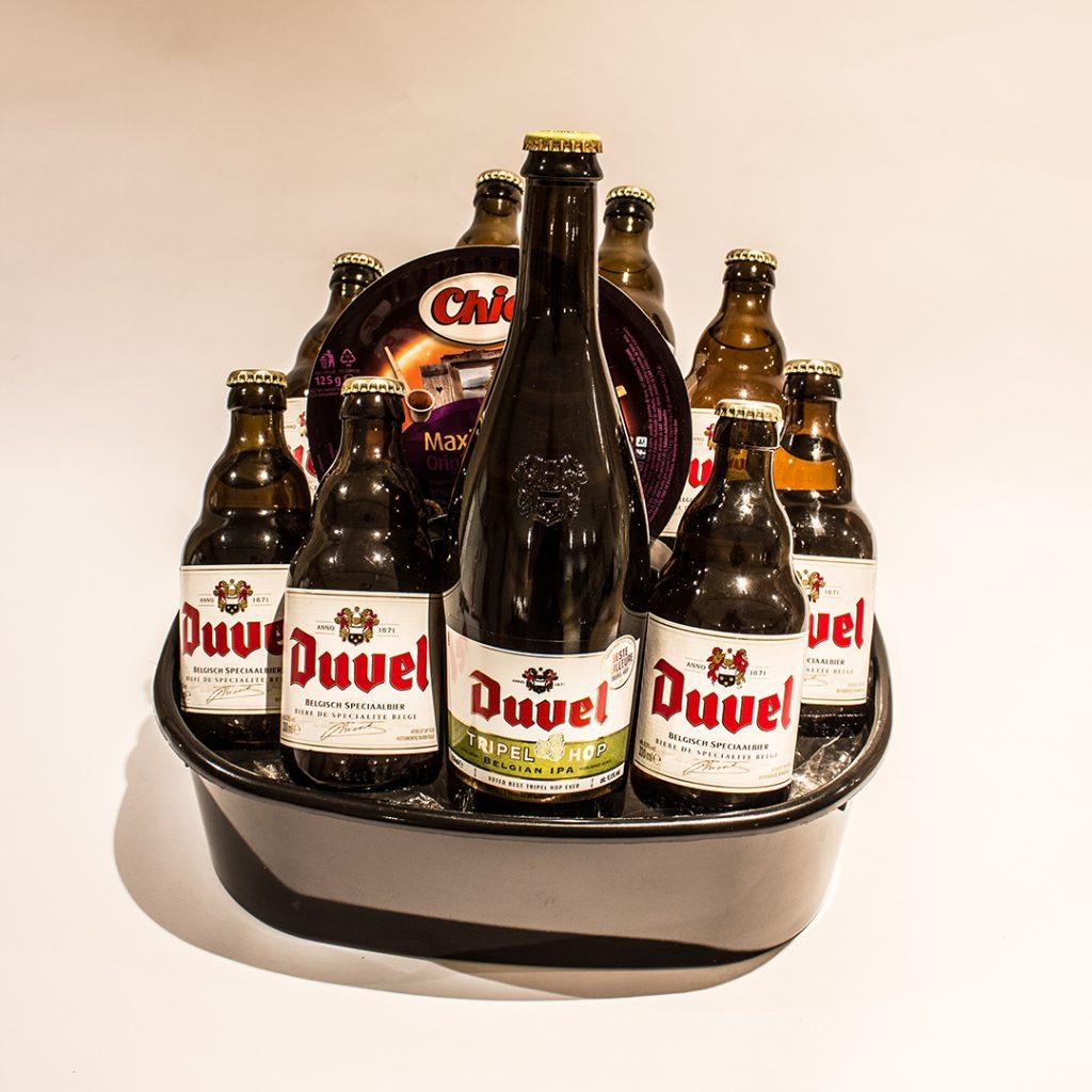 Een bierkorf gevuld met Duvel ter waarde van 25 euro