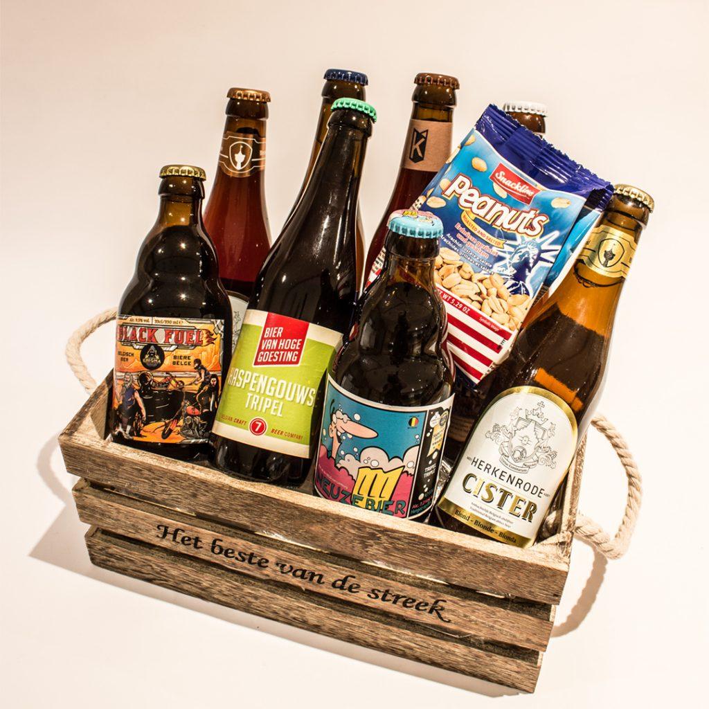 Een bierkorf gevuld met Limburgse streekbieren ter waarde van 25 euro